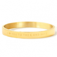 "Pulseras acero inox ""I LOVE YOU TO THE MOON AND BACK"" Oro"