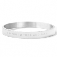 "Pulseras acero inox ""I LOVE YOU TO THE MOON AND BACK"" Plata"