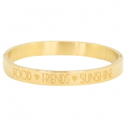 "Pulsera Acero Inox con texto ""FOOD♡FRIENDS♡SUNSHINE"" oro"