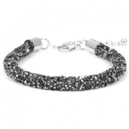 Pulseras Crystal Diamond 7mm negro diamante-antracita