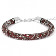 Pulseras Crystal Diamond 7mm rojo Siam-antracita