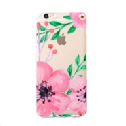 Funda de móvil Trendy para iPhone 7 flor transparente-rosa verde