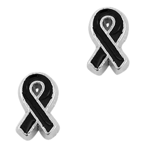 Floating Charms Pink Ribbon plata vieja -negro